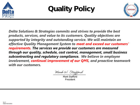 Delta Solutions Quality Policy v4 - 2021