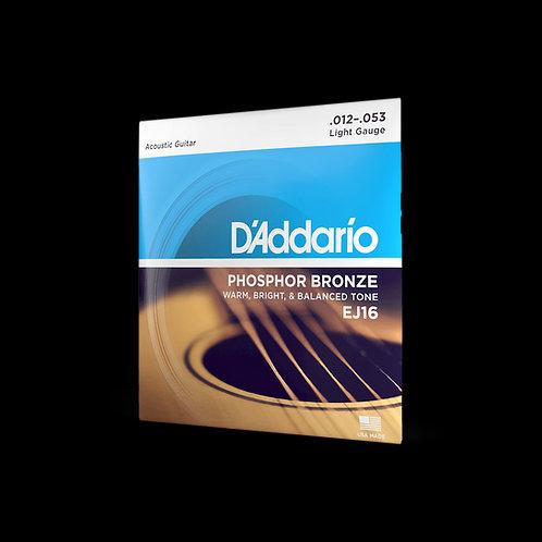 D'Addario Acoustic Guitar Set EJ16, 0.012-0.053 Light