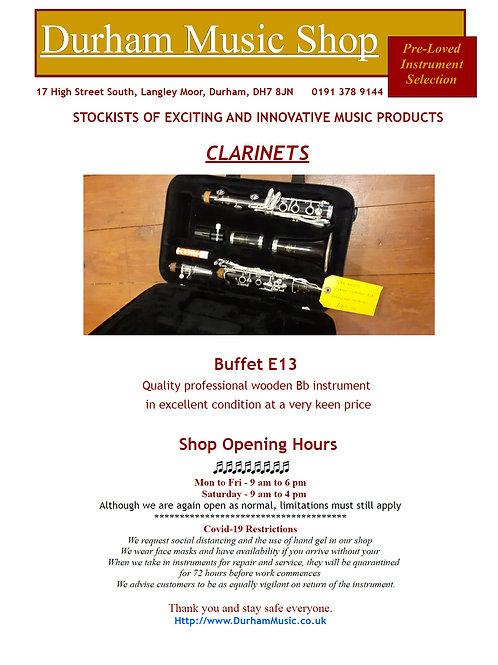 Buffet E13 Wooden Clarinet