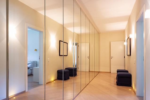 Full wall, Full hight fitted mirrored wardrobe