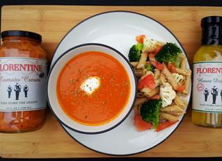 Creamy Tomato Soup with Pasta Salad
