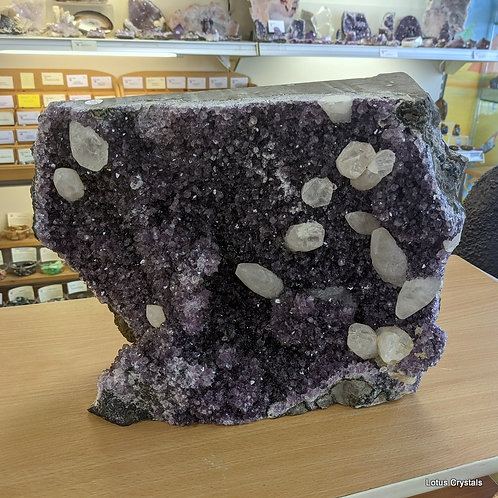 Large Amethyst Uruguayan Piece with Calcite Points