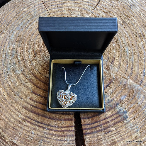 """Heart Shaped Amber Pendant with 18"""" Chain"""