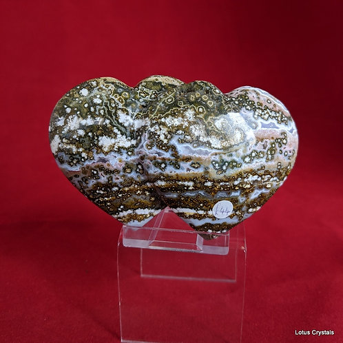 Orbicular Jasper Double Heart
