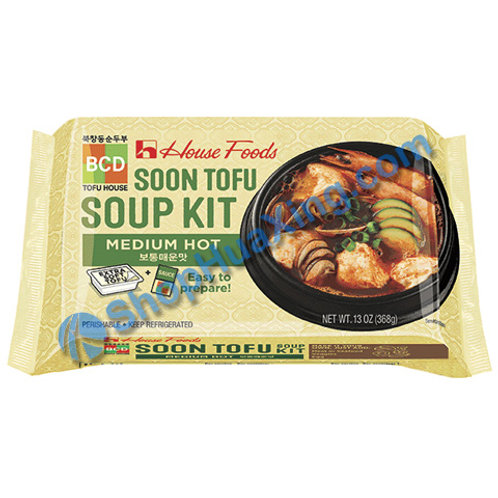 04 House Foods Soon Tofu Soup Kit Medium Hot 豆腐汤料 中辣 13oz