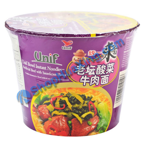 03 Unif Artificial Beef With Sauerkraut Flv Instant Noodle 统一老坛酸菜牛肉面 杯面 125g