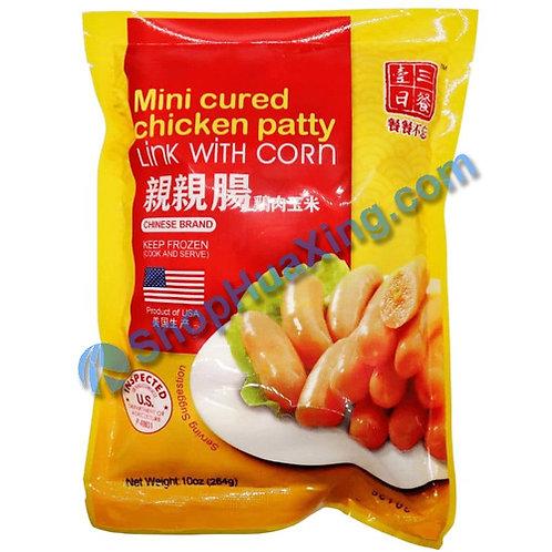 05 Mini Cured Chicken Patty Link w. Corn 一日三餐 亲亲肠 鸡肉玉米 10oz