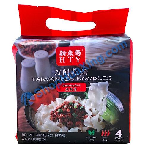 03 HTY Taiwanese Noodles Sichuan Flv. 新东阳 刀削干面 麻辣酱 432g