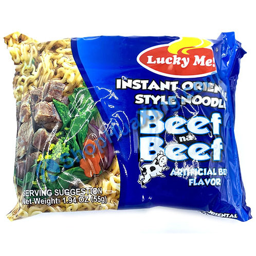 03 Lucky Me Instant Noodle Artificial Beef Flv. 菲式牛汤面 55g