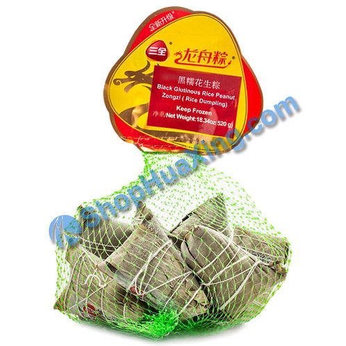 05 Black Glutinous Rice Peanut Dumpling 三全龙舟粽 黑糯花生粽 网袋装 520g