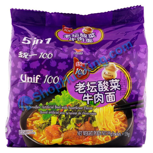 03 Unif Instant Noodle Artificial Beef W Sauerkraut Flv 统一老坛酸菜牛肉面  5in1 X119g