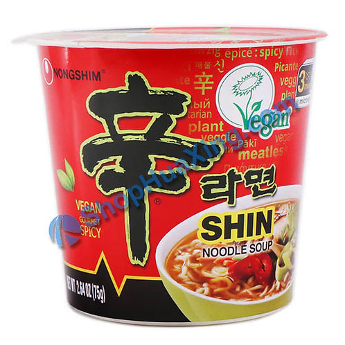 03 NongShim Shin Noodle Soup Vegan Spicy 农心 辛拉面 素食 杯面  75g
