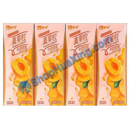 04 MengNiu Milk Beverage Chewy Fruit Peach Flv 蒙牛真果粒牛奶饮品 桃果粒 4x250mL