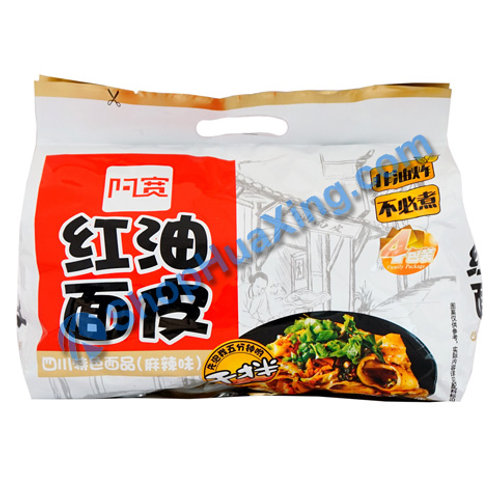 03 Broad Noodle Chili Oil Flv 阿宽 红油面皮 麻辣味 4包 440g