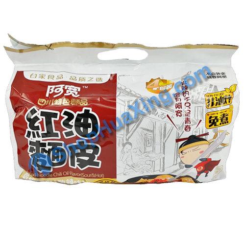 03 Broad Noodle (Sour &Hot) Flv 阿宽 红油面皮 酸辣味 4包 460g