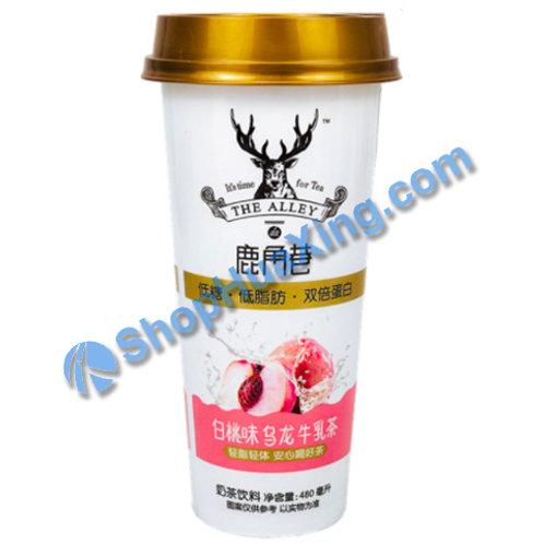 04 LJX White Peach Flv Oolong Milk Tea 鹿角巷 白桃味乌龙牛乳茶 480ml