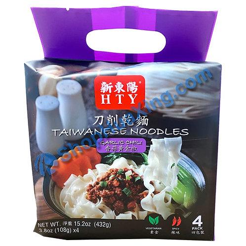 03 HTY Taiwanese Noodles Garlic Chili Flv. 新东阳 刀削干面 香蒜黄金椒 432g
