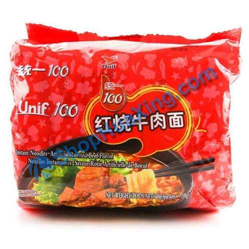 03 Unif Instant Noodle Artificial Roasted Beef Flv  统一红烧牛肉面  5in1 X108g