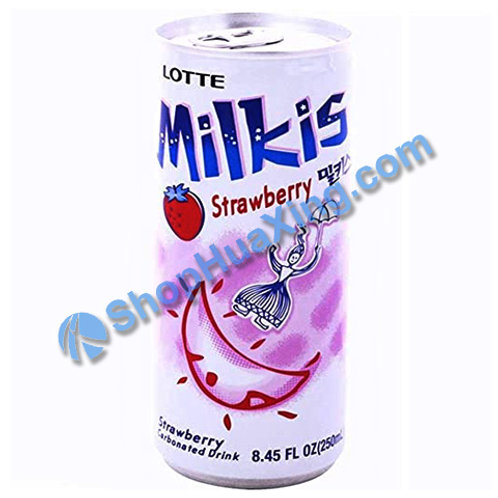 04 Lotte Milkis Strawberry Drink 牛奶草莓味饮料 铝罐 250ml