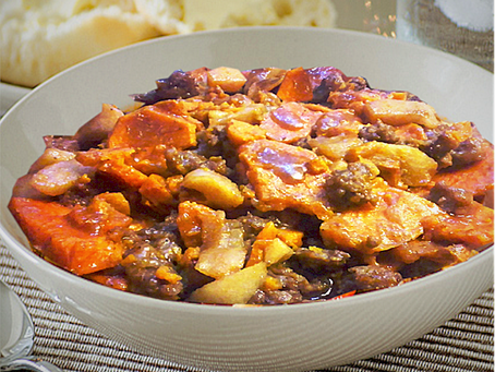 Sausage, Sweet Potato,  and Apple Bake