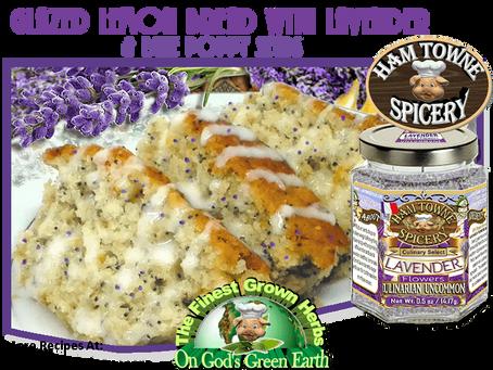 GLAZED LEMON BREAD WITH LAVENDER & POPPY SEEDS