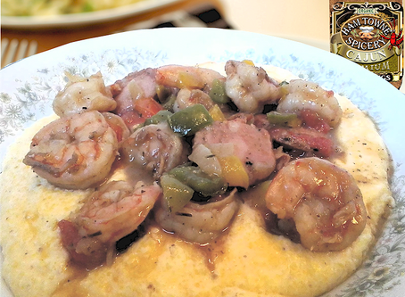 CAJUN SHRIMP AND SAUSAGE WITH CHEESE GRITS