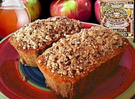 APPLE CIDER POUND CAKE WITH A STREUSEL TOPPING