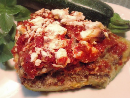 ANN'S GREEK STUFFED ZUCCHINIS
