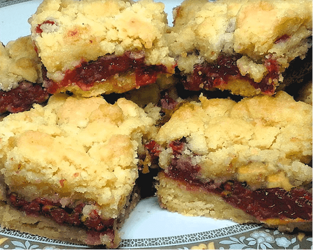 GINGERED CRANBERRY ORANGE CRUMB BARS