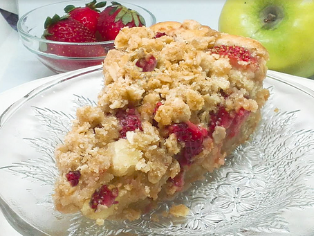 Gingered Strawberry-Apple  Crumb Cake