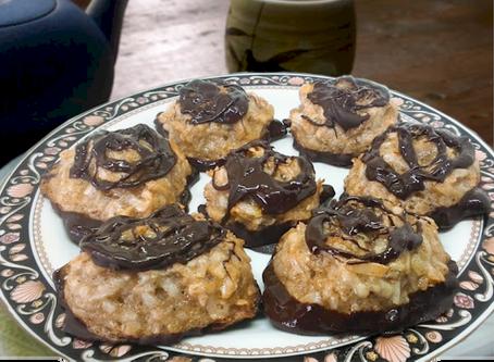 True Cinnamon & Cayenne Dark Chocolate Dipped Macaroons