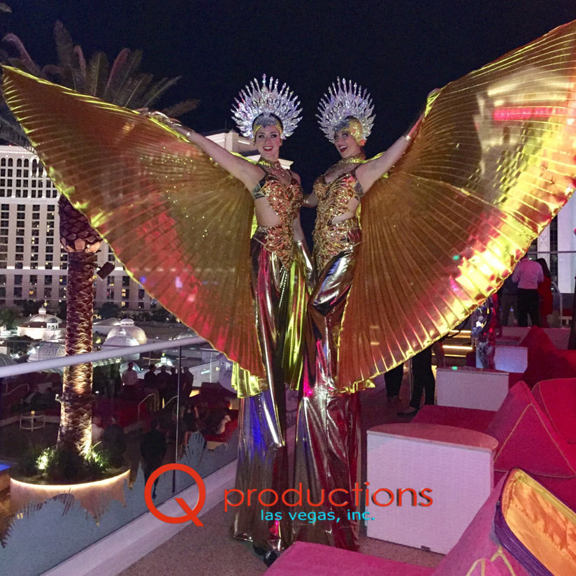 Gold Wings Stilt Walkers