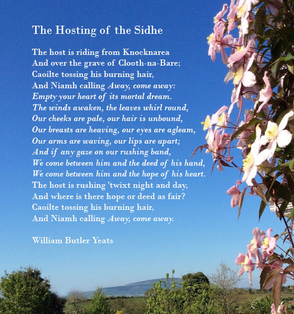 Photo of Knocknarea and Clematis flowers in bloom with words of the poem 'The Hosting of the Sidhe' by W.B. Yeats