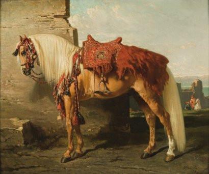 Alfred DeDreux palomino in desert tack