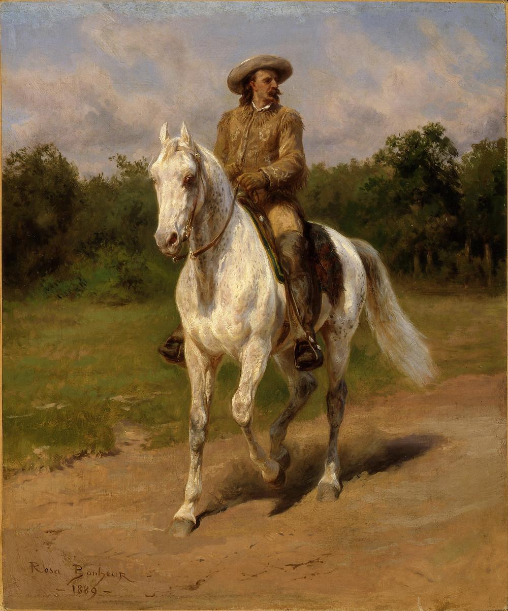 Rosa Bonheur portrait of Buffalo Bill Cody riding Arabian stallion *Muson