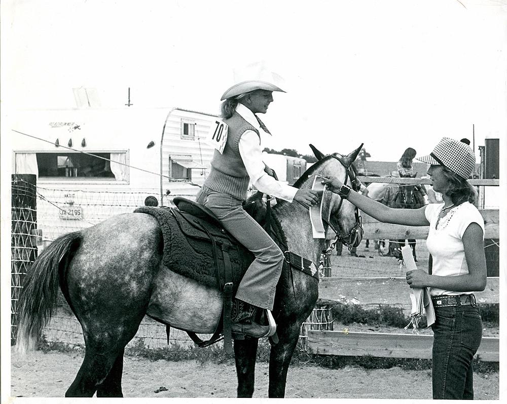Western horsemanship win 1976 at Sand Drifters Riding Club Colorado Springs Rider Sharon Resetar