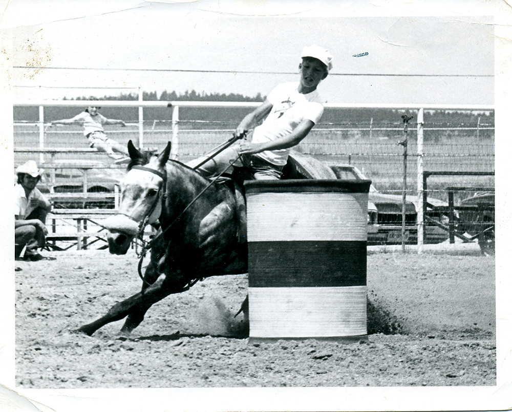 Gymkhana pony Gray Dawn barrel racing at Black Forest Riding club Colorado Springs 1976 with rider Sharon Resetar