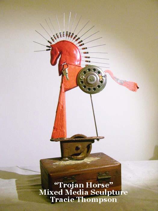 Tracie Thompson mixed media sculpture Trojan Horse