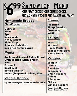 Dedricks new sandwich menu with new pric