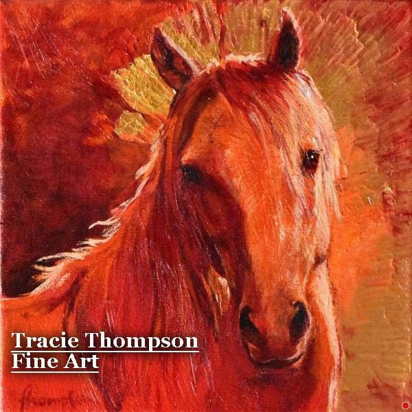 Tracie Thompson mixed media Red Mustang