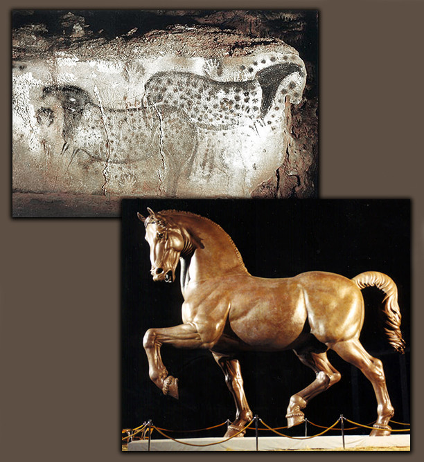 Chauvet Cave DaVinci Horse collage