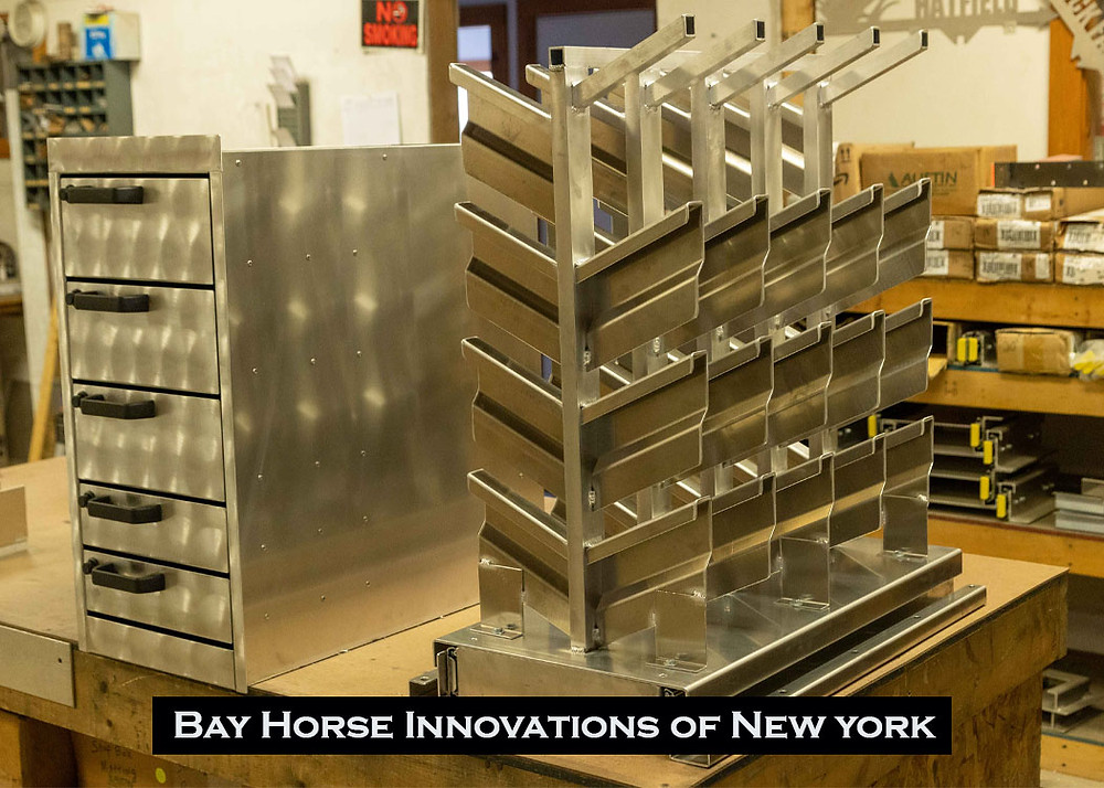 Drawers and racks manufactured for future custom vet and farrier rigs at Bay Horse Innovations New York