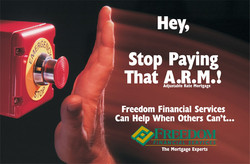 Freedom Financial ARM Panic Button Postcard Front