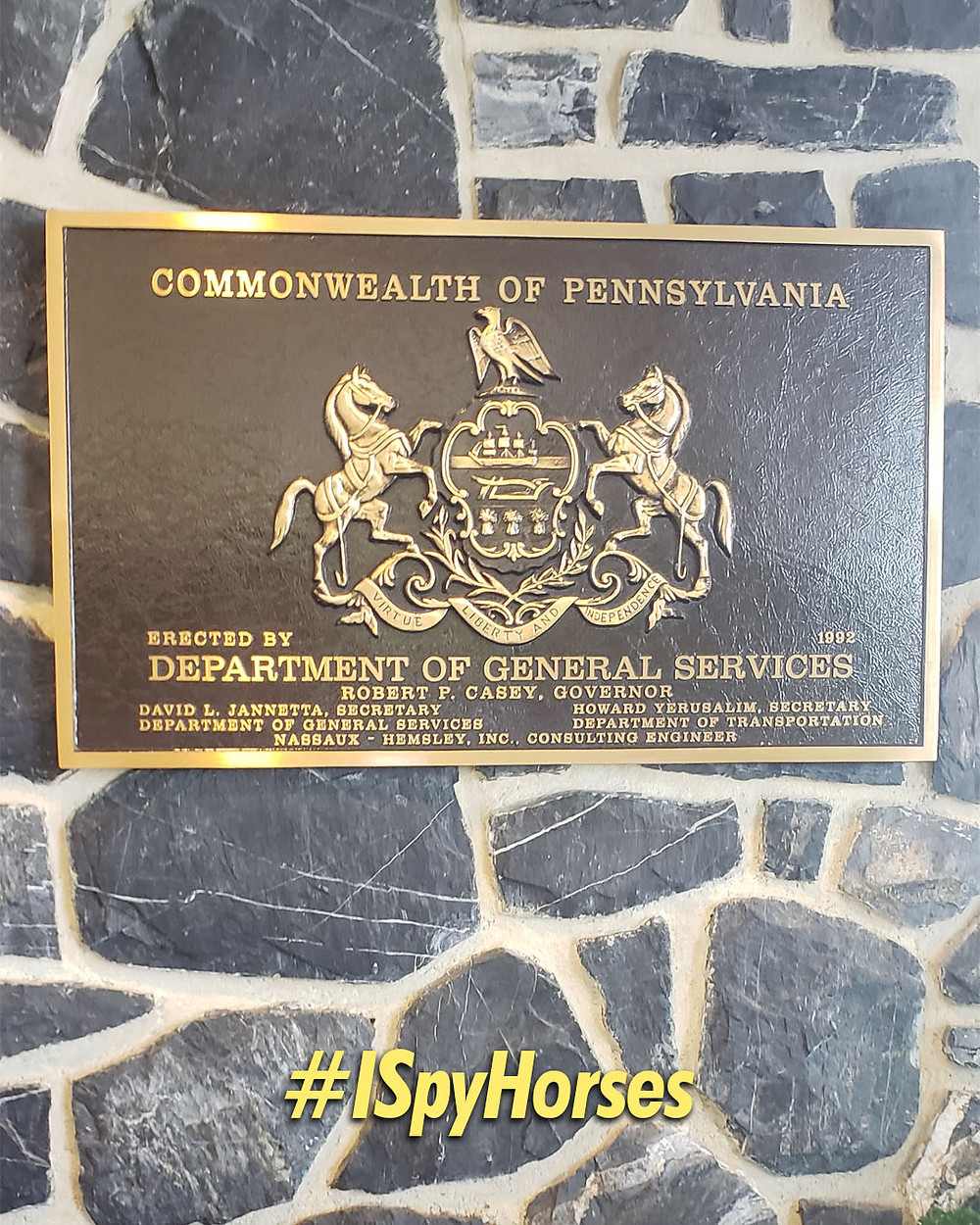 Coat of Arms Pennsylvania featuring horses forcene
