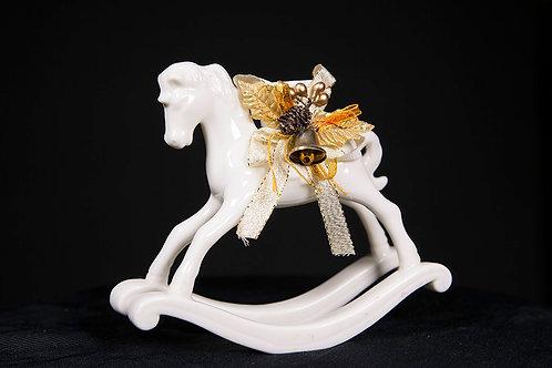 White Ceramic Hobby Horse Candle Holder