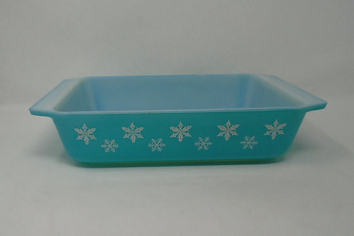 Vintage JAJ Pyrex Turquoise Gaiety Snowflake Space saver Casserole Dish