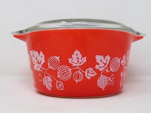 Vintage JAJ Pyrex Red and White Gooseberry Junior Spacesaver Casserole Dish