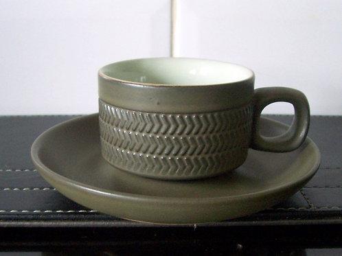 Denby Chevron Demi Tasse Coffee Cup & Saucer