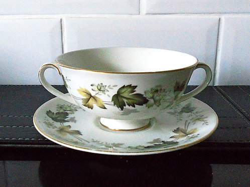 Royal Doulton Larchmont Soup Coupe / Cup and Saucer / Stand