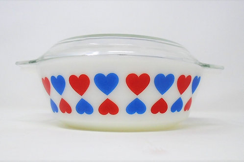 Vintage JAJ Pyrex Large Blue & White Hearts 513 Casserole Dish